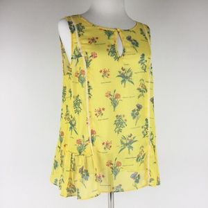 ModCloth Yellow Floral Sleeveless Peplum Top